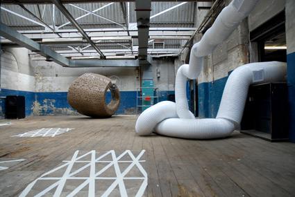 Conditioner 2009, vans, anti septic air, pastic, wires;  exhibition view at Autoitalia, London