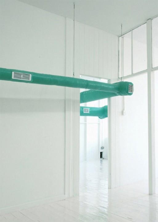 Conditioner, 2007 tubes, plastics, ventilators, antiseptic air 0,5x0,5x20 m MOOT Gallery, Nottingham, UK